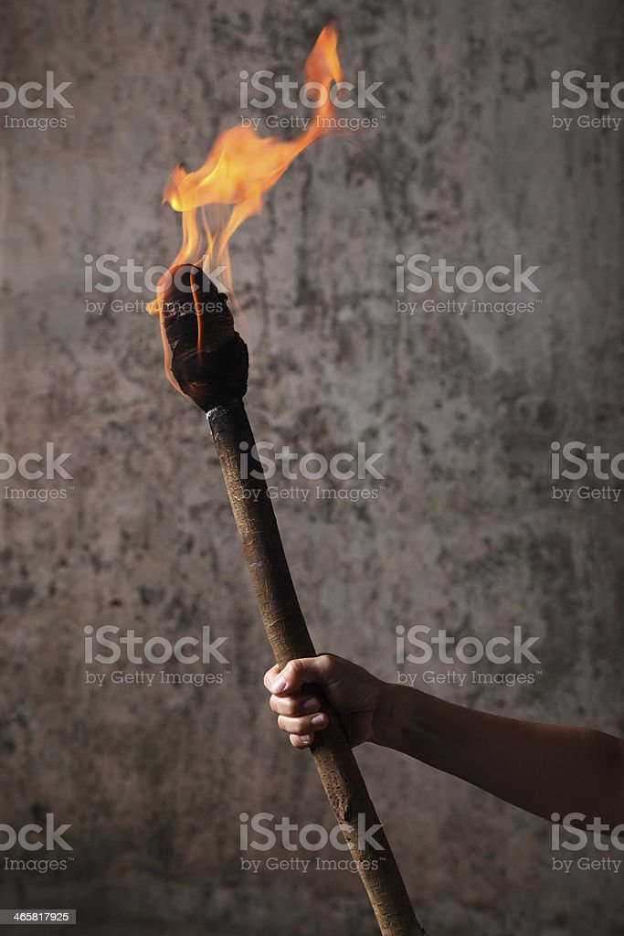 Holding a Flaming Torch royalty-free stock photo