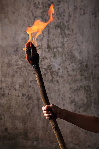 Holding a Flaming Torch stock photo