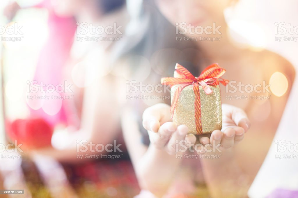 Holding a gift box stock photo