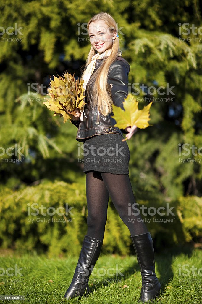 Holding a leaf royalty-free stock photo