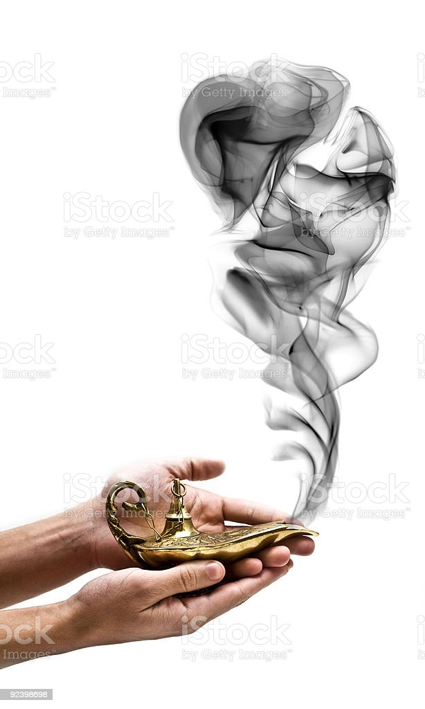 Holding a Magic Lamp stock photo