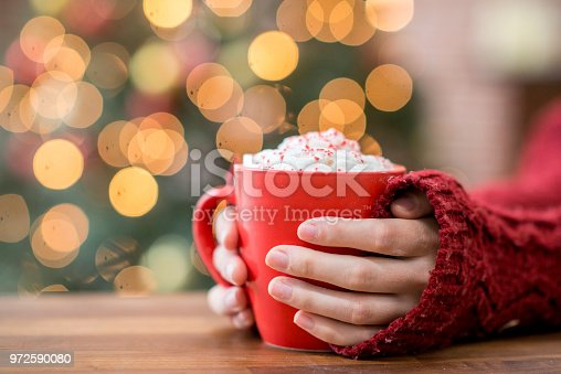 A woman wearing a sweater is holding a mug of hot chocolate. Christmas lights are glowing in the background.
