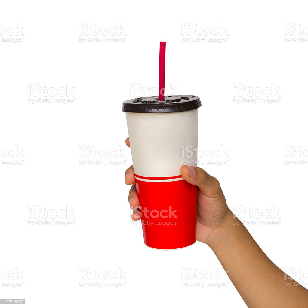 Holding a paper cup with tube isolated over white background stock photo