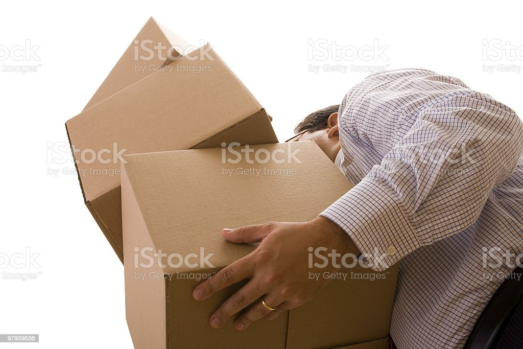 holding a pile of parcels royalty-free stock photo
