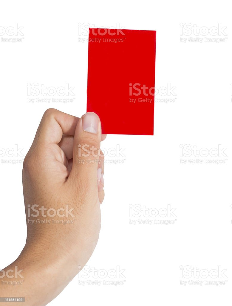 Holding a red card stock photo