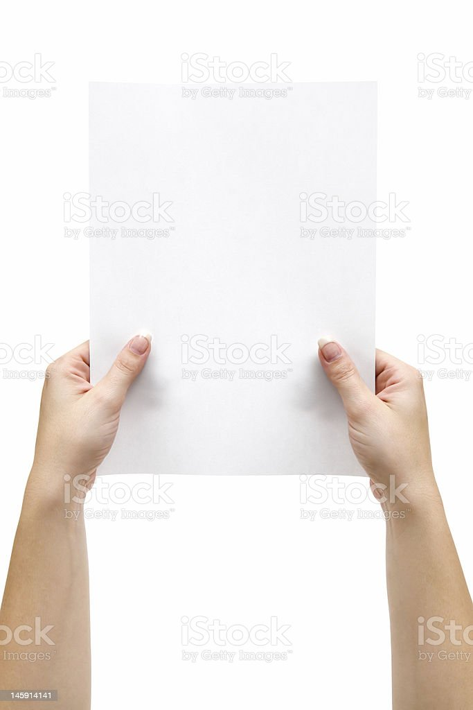 Holding a Sheet of Paper royalty-free stock photo