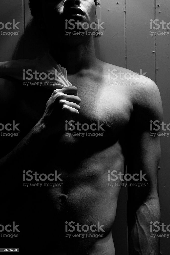 Holding a shirt royalty-free stock photo