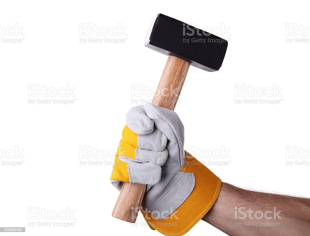 Holding a sledgehammer royalty-free stock photo