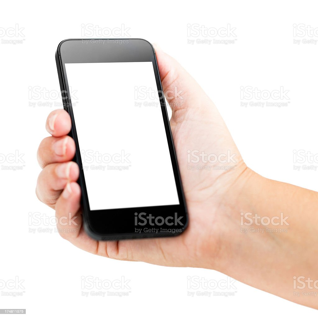 Holding a smartphone on white background royalty-free stock photo