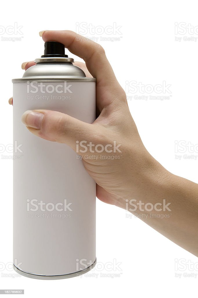Holding a Spray Paint Can (Clipping Path Included) stock photo