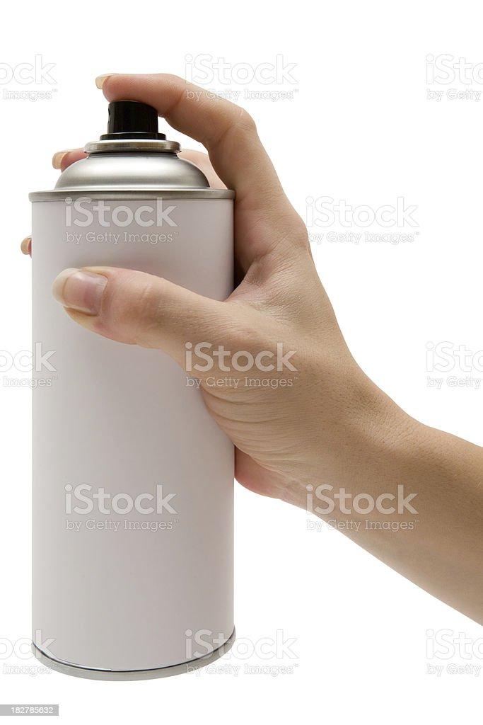 Tenant une bombe de peinture peut (Tracé de détourage inclus - Photo
