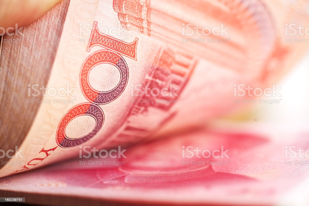 Holding a stack of chinese mone stock photo