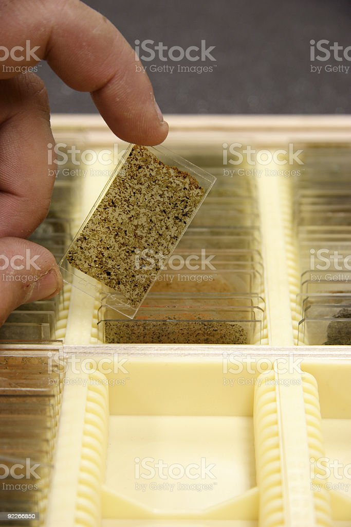 Holding a thin-section stock photo