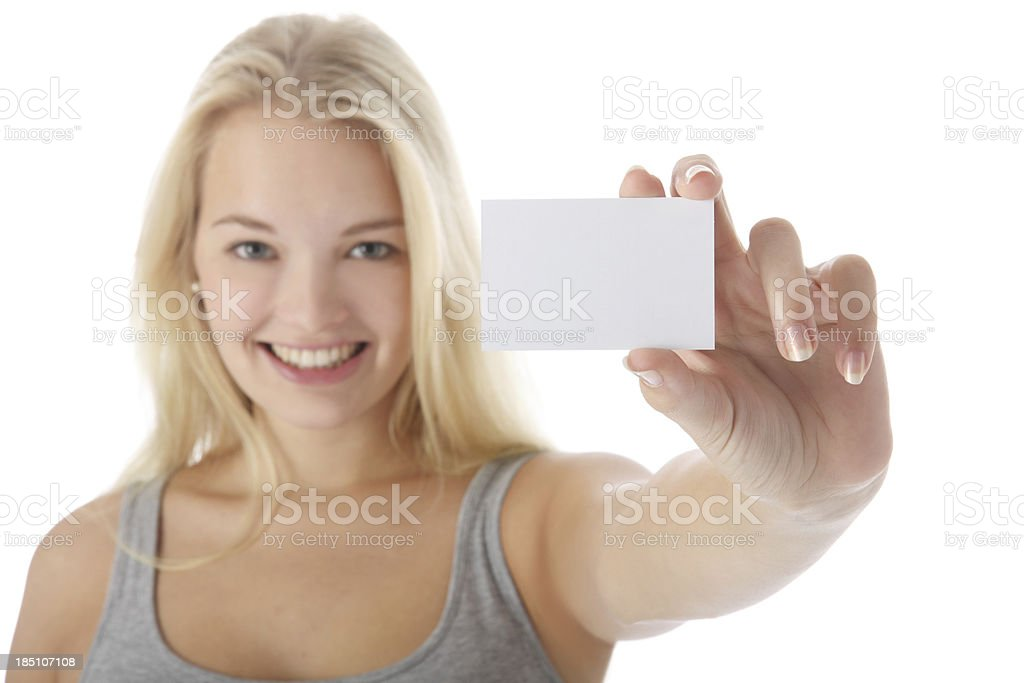 holding a white card royalty-free stock photo