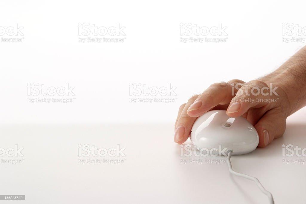 Mit einem weißen computer-Maus auf weißem Hintergrund Lizenzfreies stock-foto
