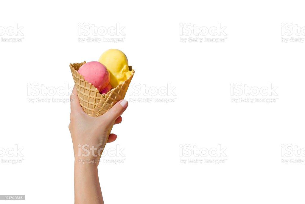 Sostiene un helado - foto de stock