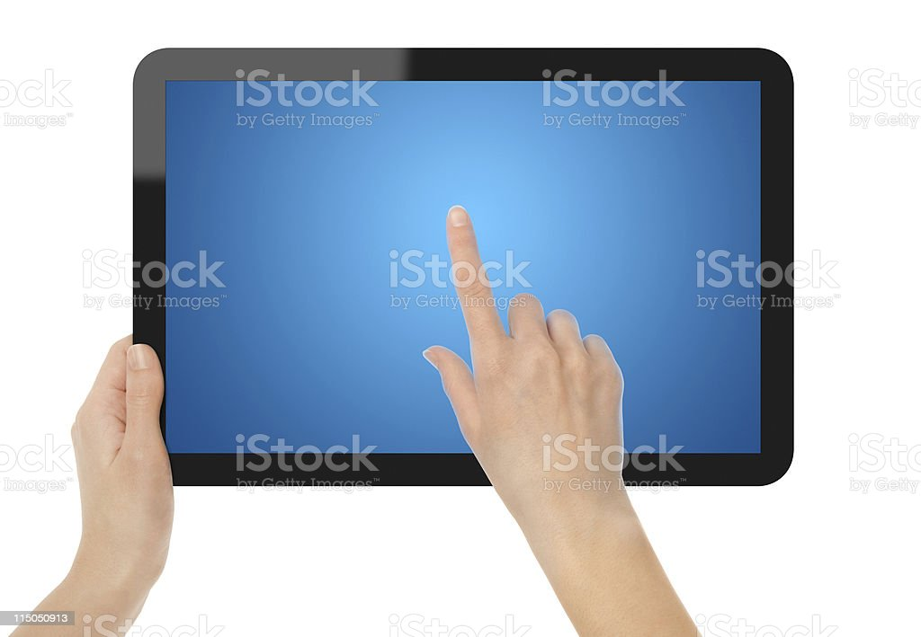 Holding And Touch Tablet PC royalty-free stock photo
