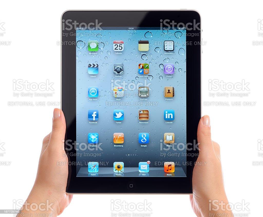 Holding Apple iPad iOS 5 royalty-free stock photo