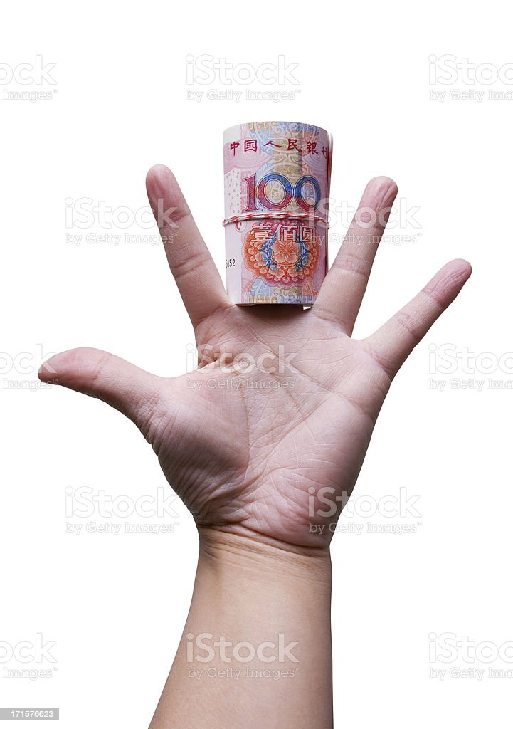 Holding banknotes (clipping path) stock photo