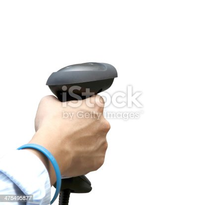 92884259 istock photo Holding barcodce scanner over white background 475495877