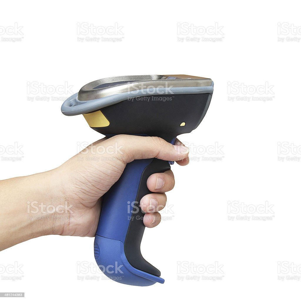 Holding barcode and QR code scanner isolated over white background stock photo