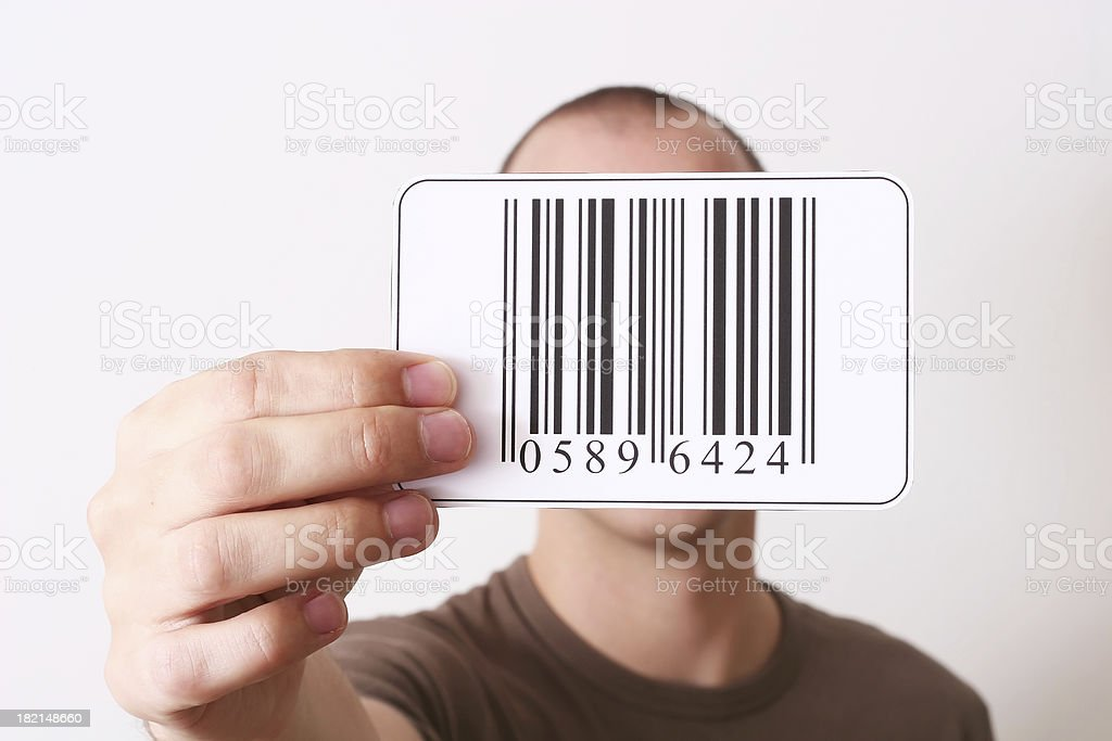 Holding barcode royalty-free stock photo