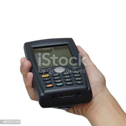 92884259 istock photo Holding barcode scanner isolated over white background 462522249