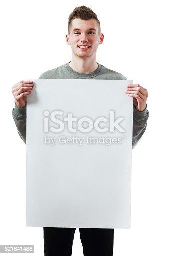 istock holding big white blank 621841488