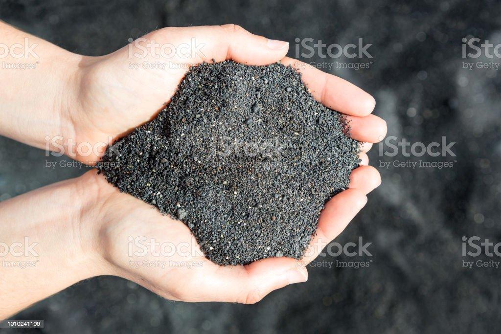 Holding black sand stock photo
