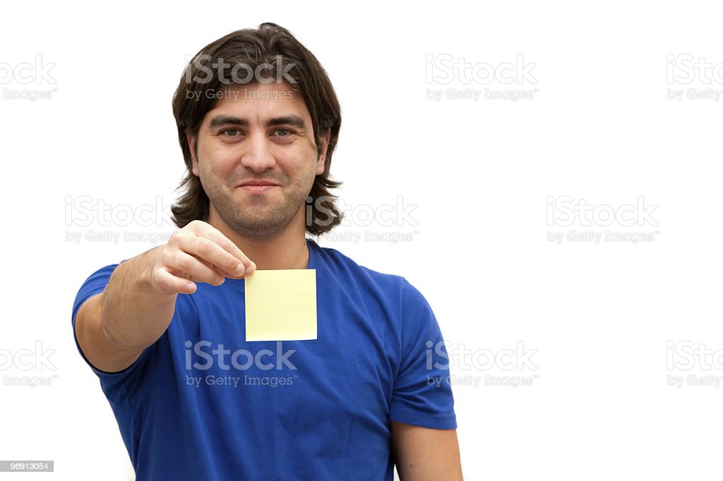 Holding blank post it note royalty-free stock photo