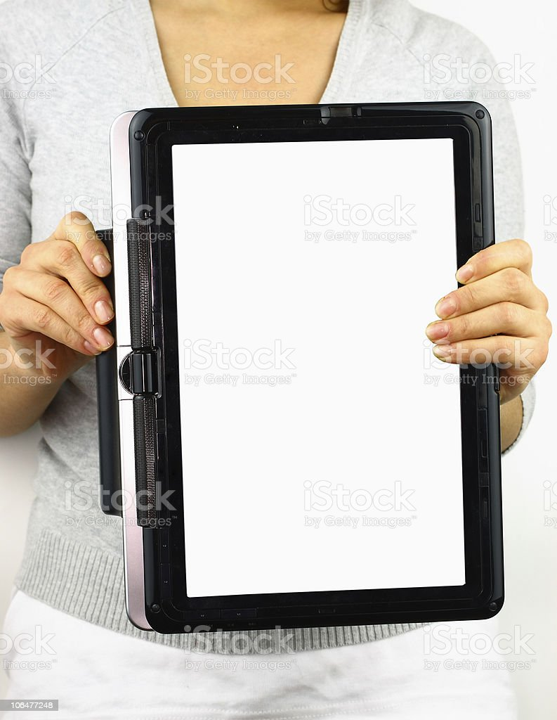 Holding blank tablet pc royalty-free stock photo