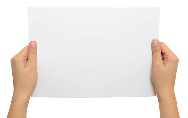 holding blank white paper - lesen arbeitsblätter stock-fotos und bilder