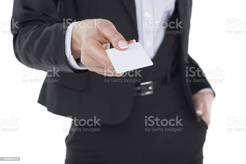 Holding business card stock photo