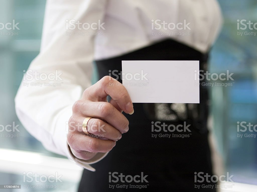 Holding card royalty-free stock photo