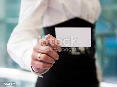 blank card in womens hand