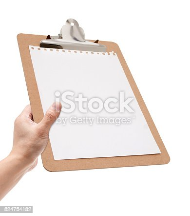 524051315 istock photo Holding clipboard with blank notepad isolated on white background 824754182