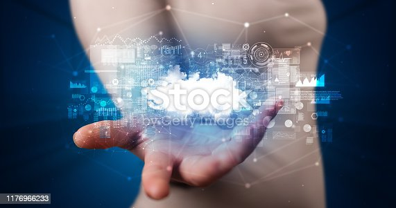 520592332istockphoto Holding cloud system hologram screen 1176966233