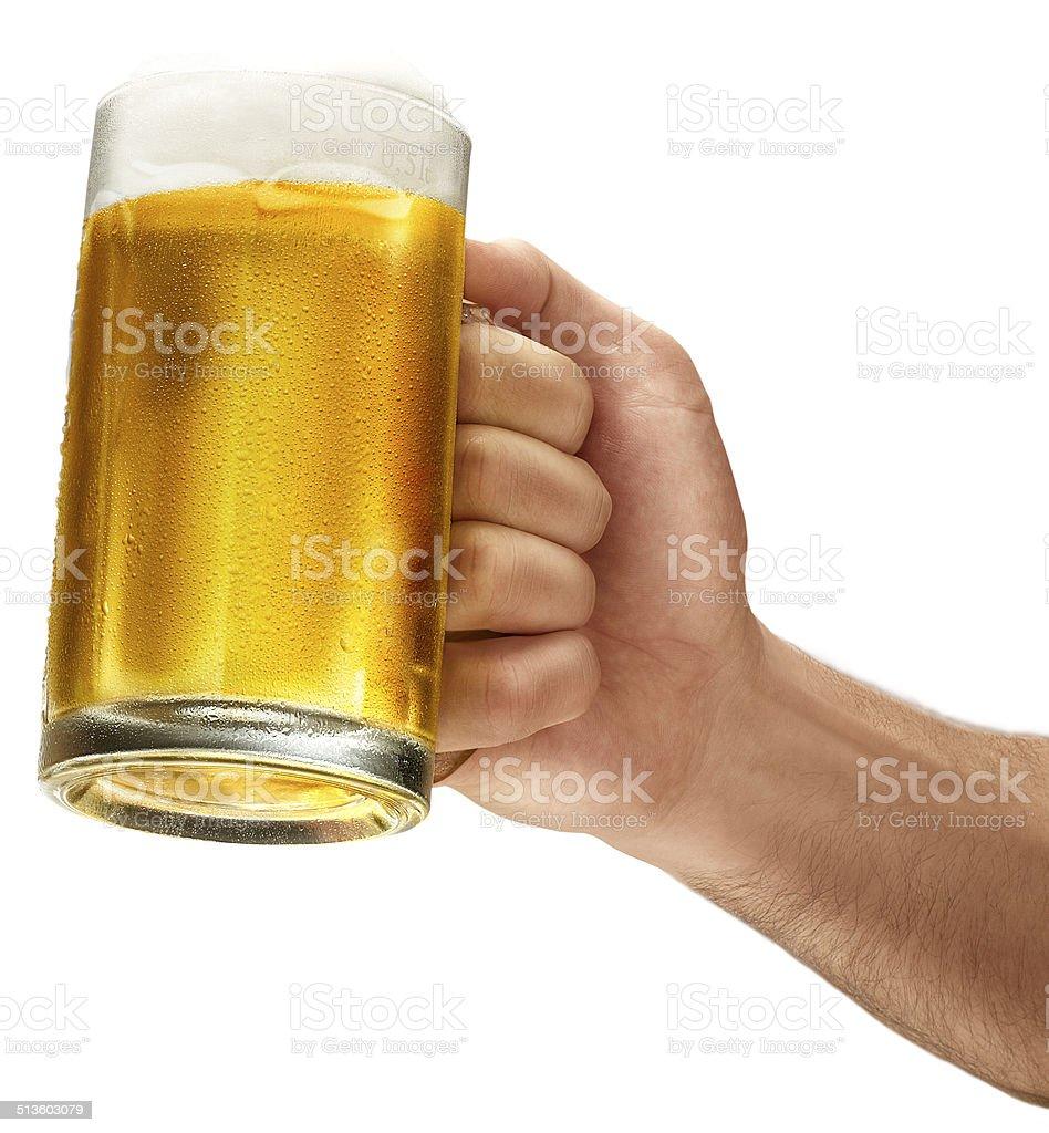 Retención cerveza fría para ¡Salud! - foto de stock