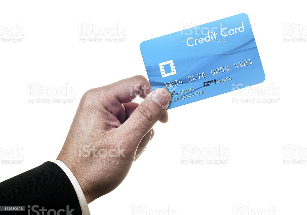 Holding credit card royalty-free stock photo