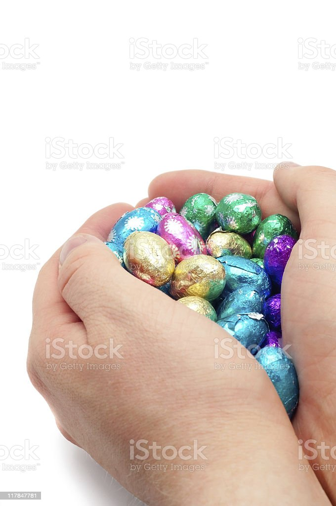 Holding Easter Eggs royalty-free stock photo