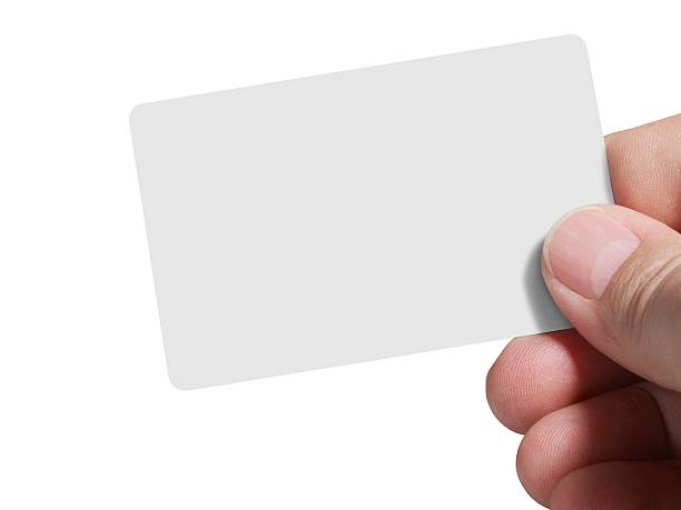 Segurando um cartão vazio, isolado com Traçado de Recorte sobre fundo branco - foto de acervo