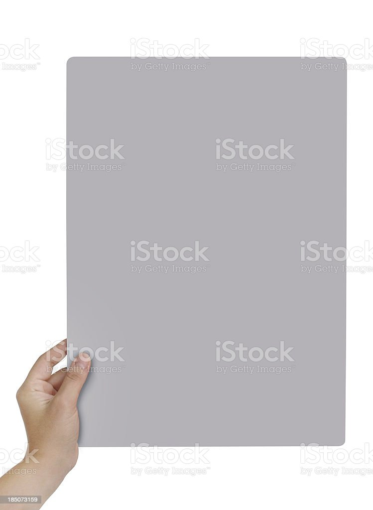 Holding Empty Card+Clipping Path royalty-free stock photo