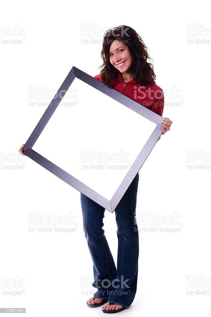 Holding Empty Frame stock photo