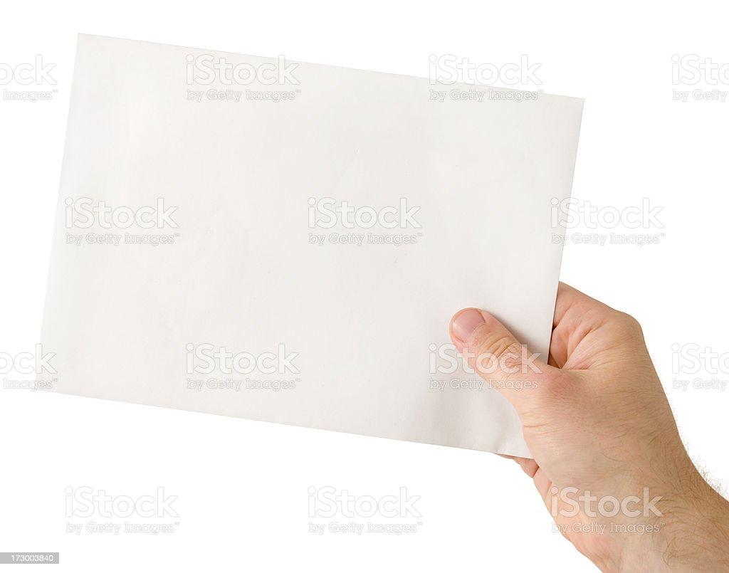 Holding envelope stock photo