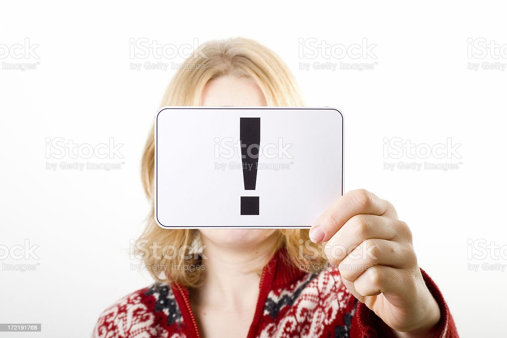 Holding Exclamation Point royalty-free stock photo