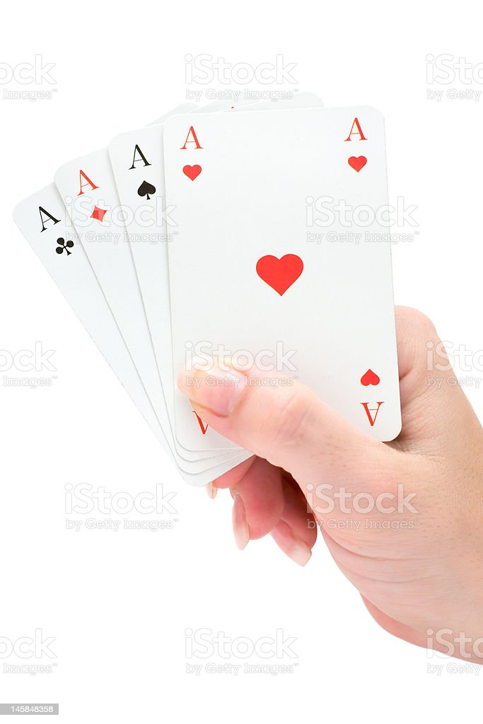 Holding Four Aces royalty-free stock photo