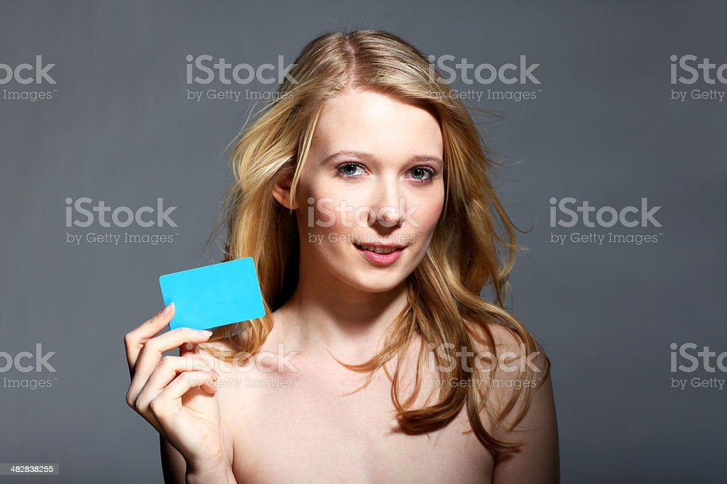 Holding Gift Card royalty-free stock photo