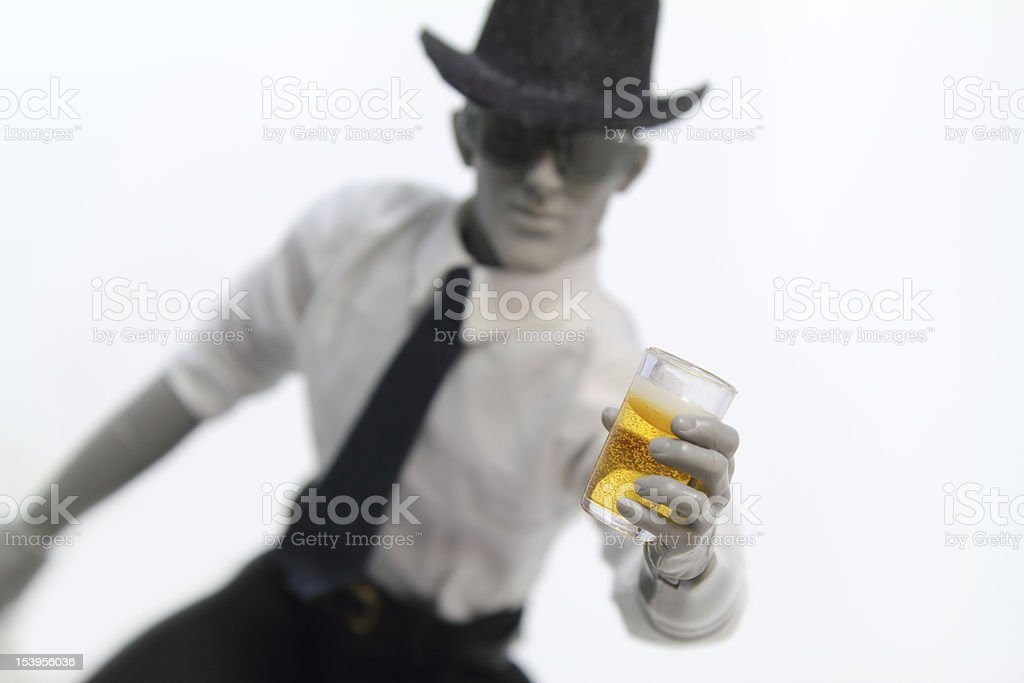 Holding glass of beer stock photo