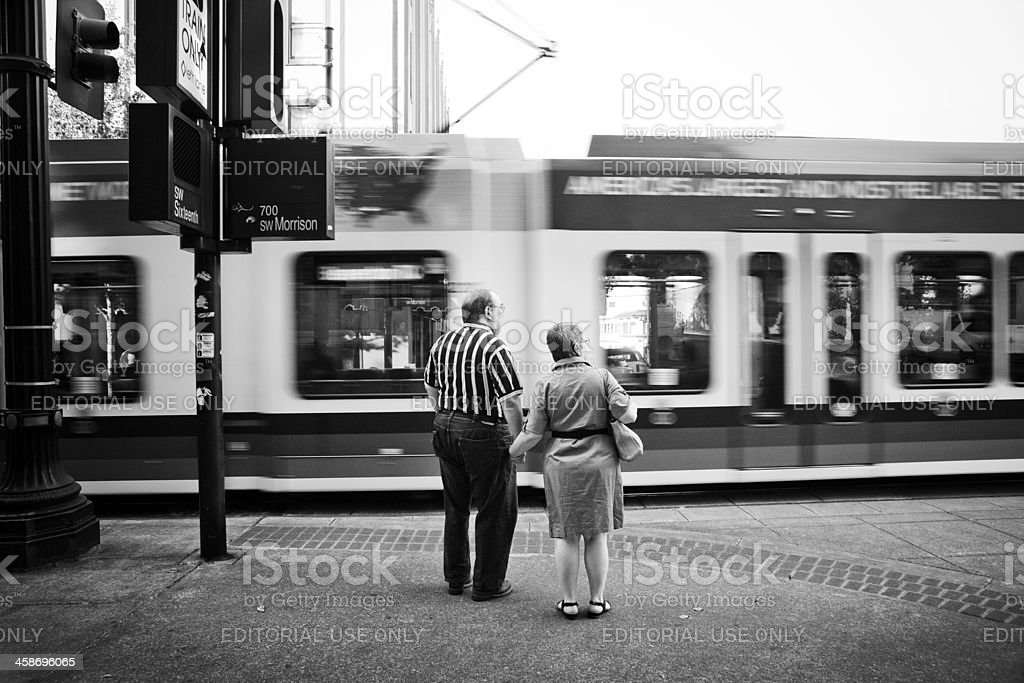 Holding hands in Portland royalty-free stock photo