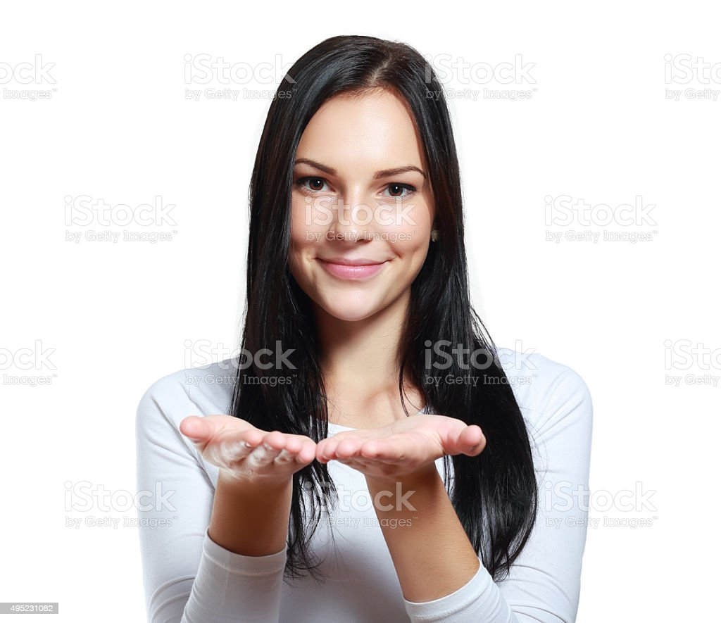 holding her hand showing stock photo